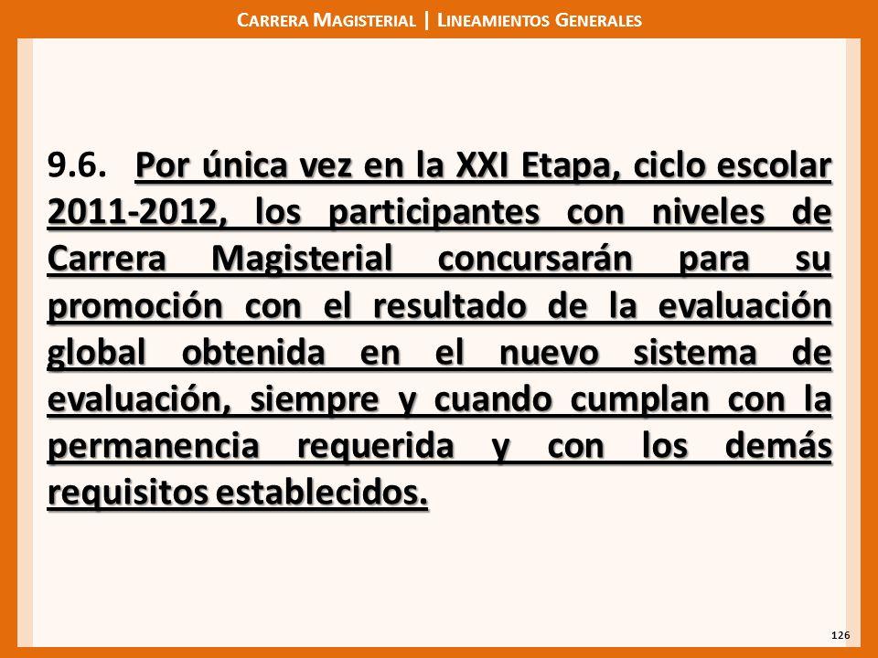 C ARRERA M AGISTERIAL | L INEAMIENTOS G ENERALES 126 Por única vez en la XXI Etapa, ciclo escolar 2011-2012, los participantes con niveles de Carrera