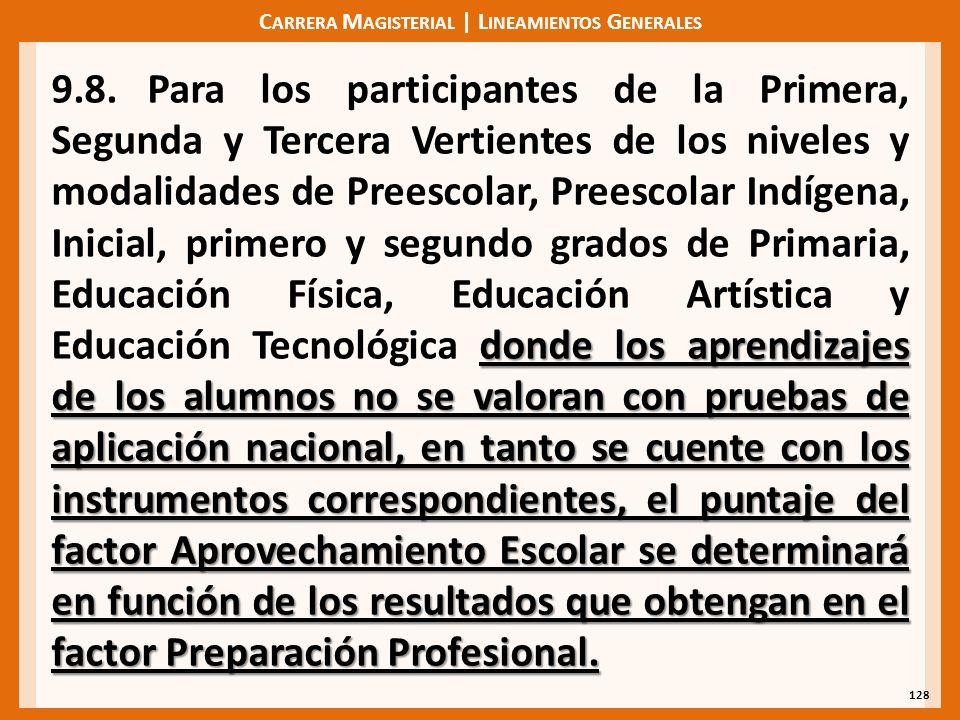 C ARRERA M AGISTERIAL | L INEAMIENTOS G ENERALES 128 donde los aprendizajes de los alumnos no se valoran con pruebas de aplicación nacional, en tanto