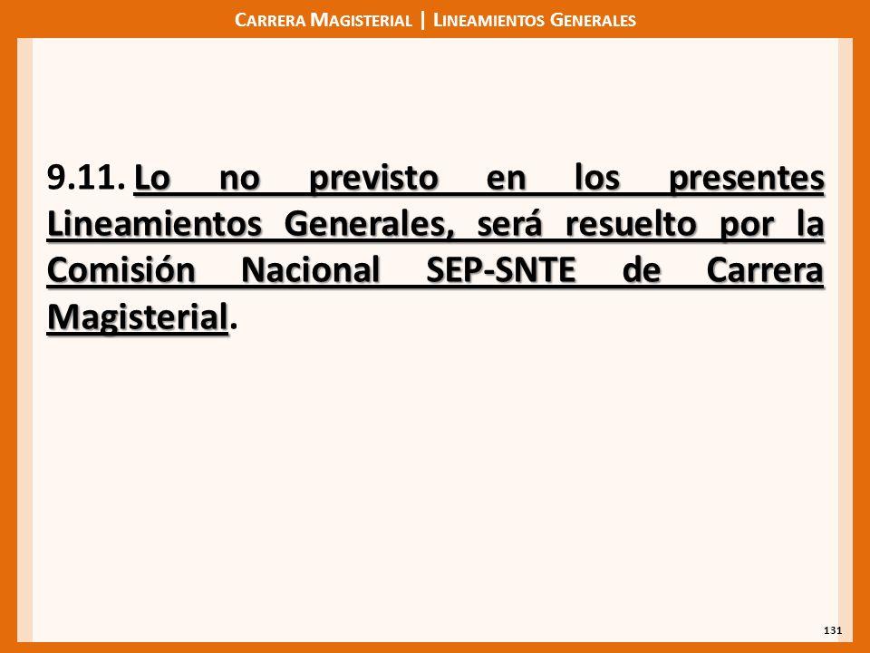 C ARRERA M AGISTERIAL | L INEAMIENTOS G ENERALES 131 Lo no previsto en los presentes Lineamientos Generales, será resuelto por la Comisión Nacional SE