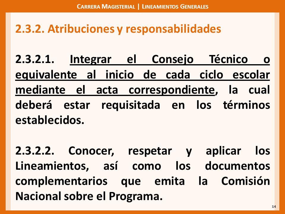 C ARRERA M AGISTERIAL | L INEAMIENTOS G ENERALES 14 2.3.2. Atribuciones y responsabilidades 2.3.2.1. Integrar el Consejo Técnico o equivalente al inic