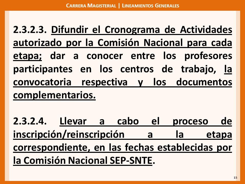 C ARRERA M AGISTERIAL | L INEAMIENTOS G ENERALES 15 2.3.2.3. Difundir el Cronograma de Actividades autorizado por la Comisión Nacional para cada etapa