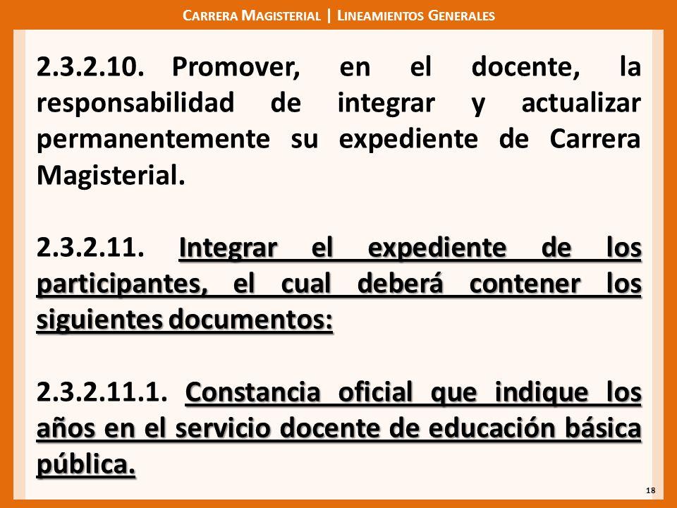 C ARRERA M AGISTERIAL | L INEAMIENTOS G ENERALES 18 2.3.2.10.Promover, en el docente, la responsabilidad de integrar y actualizar permanentemente su e
