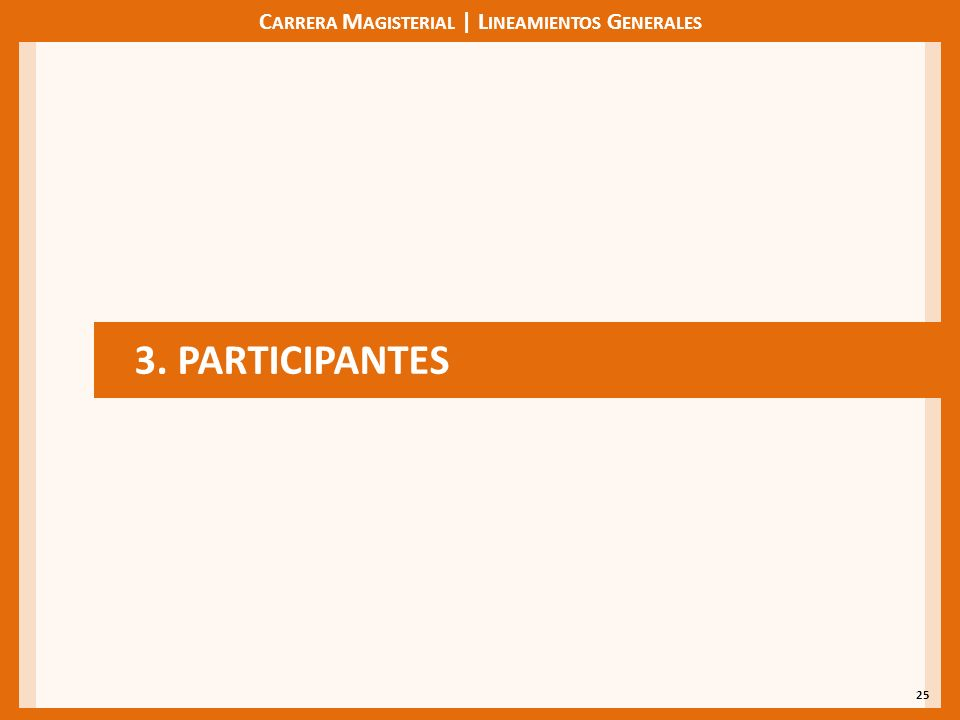 C ARRERA M AGISTERIAL | L INEAMIENTOS G ENERALES 25 3. PARTICIPANTES