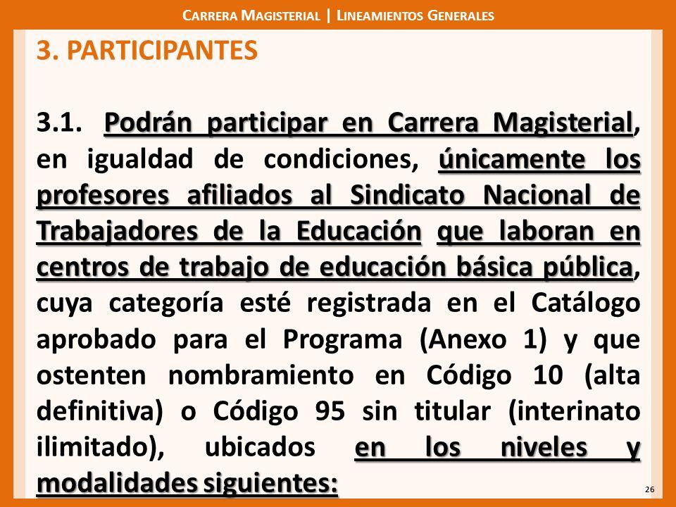 C ARRERA M AGISTERIAL | L INEAMIENTOS G ENERALES 26 3. PARTICIPANTES Podrán participar en Carrera Magisterial únicamente los profesores afiliados al S