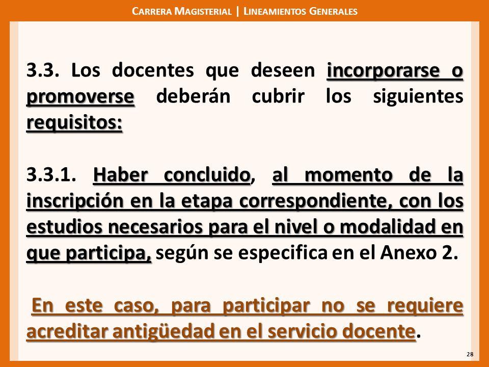 C ARRERA M AGISTERIAL | L INEAMIENTOS G ENERALES 28 incorporarse o promoverse requisitos: 3.3.