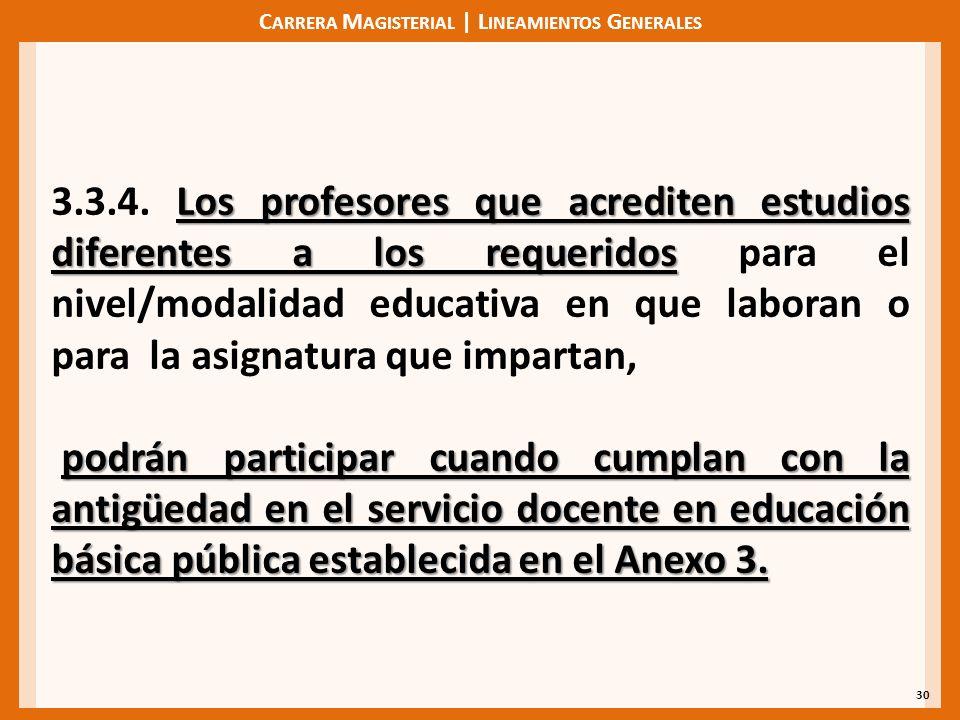 C ARRERA M AGISTERIAL | L INEAMIENTOS G ENERALES 30 Los profesores que acrediten estudios diferentes a los requeridos 3.3.4. Los profesores que acredi