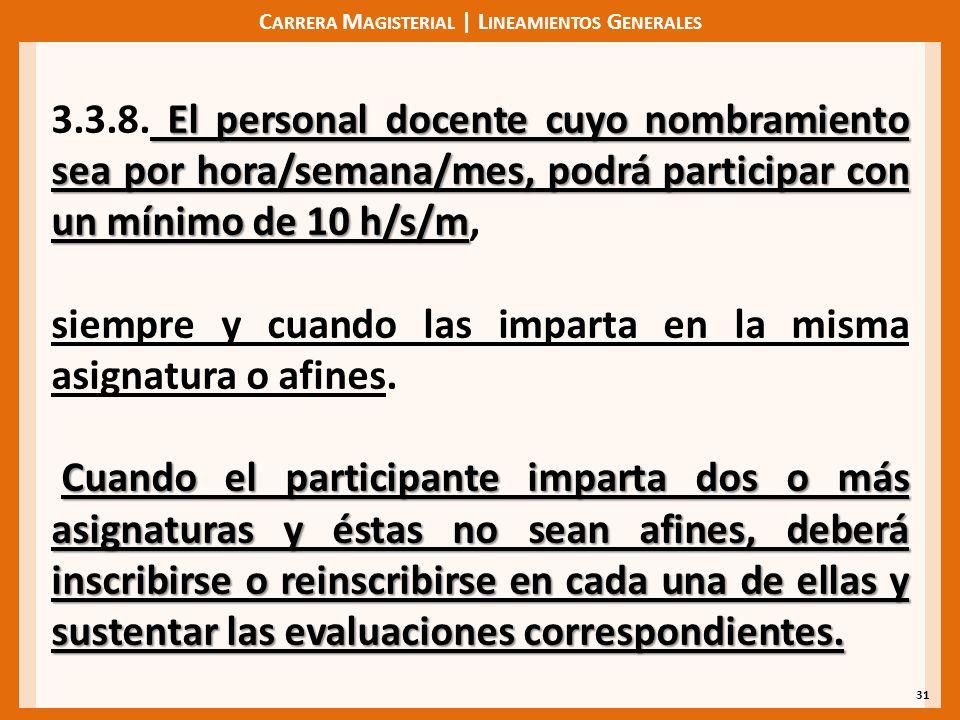 C ARRERA M AGISTERIAL | L INEAMIENTOS G ENERALES 31 El personal docente cuyo nombramiento sea por hora/semana/mes, podrá participar con un mínimo de 10 h/s/m 3.3.8.