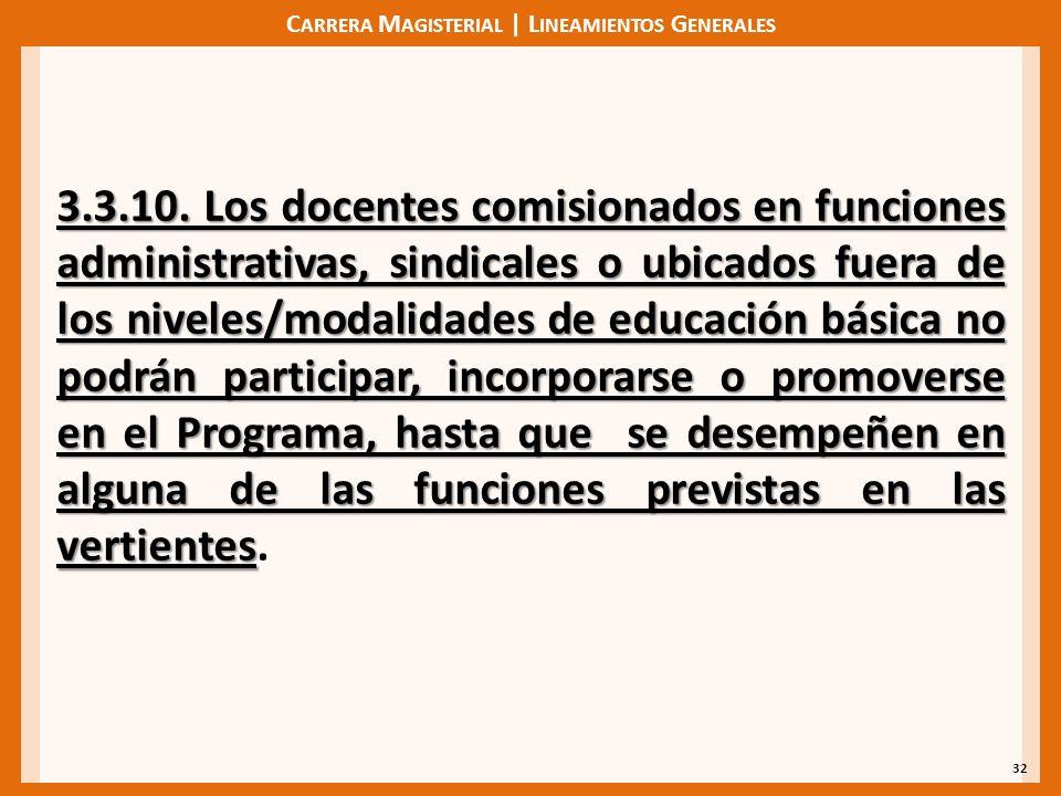 C ARRERA M AGISTERIAL | L INEAMIENTOS G ENERALES 32 3.3.10. Los docentes comisionados en funciones administrativas, sindicales o ubicados fuera de los