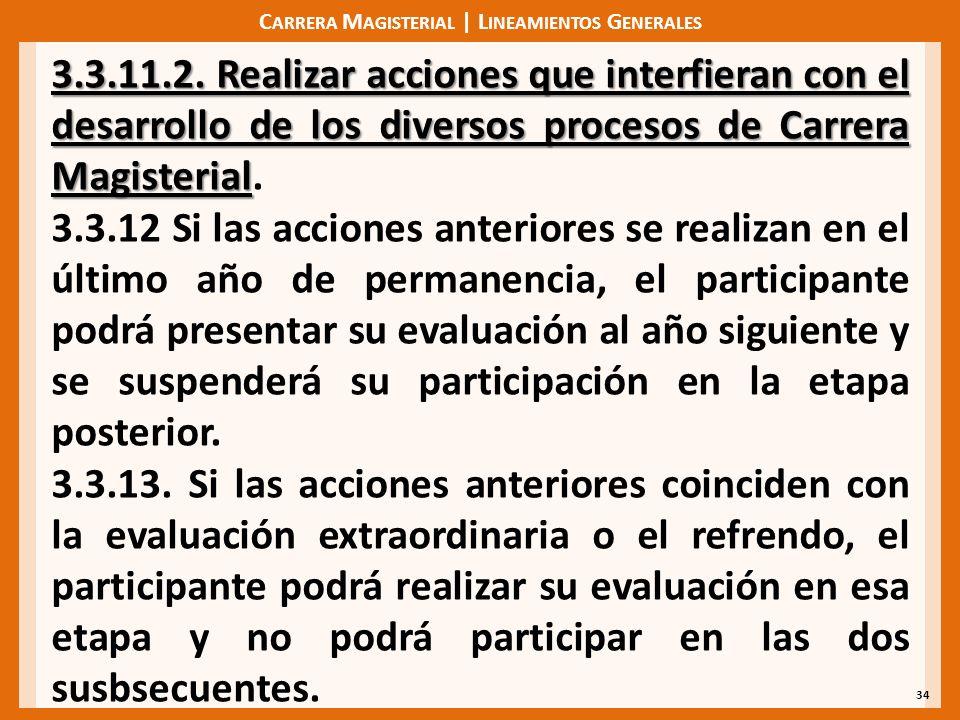C ARRERA M AGISTERIAL | L INEAMIENTOS G ENERALES 34 3.3.11.2. Realizar acciones que interfieran con el desarrollo de los diversos procesos de Carrera