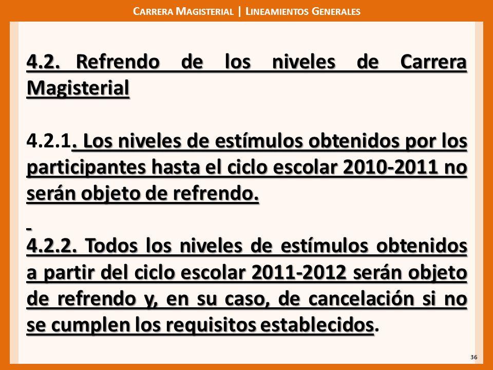 C ARRERA M AGISTERIAL | L INEAMIENTOS G ENERALES 36 4.2. Refrendo de los niveles de Carrera Magisterial. Los niveles de estímulos obtenidos por los pa