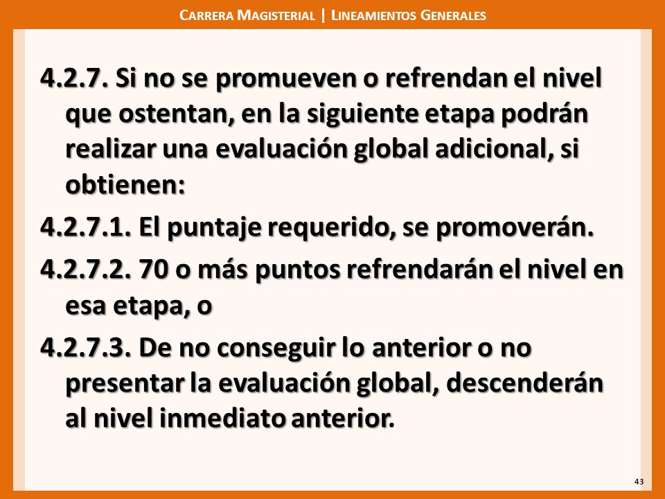 C ARRERA M AGISTERIAL | L INEAMIENTOS G ENERALES 4.2.7.