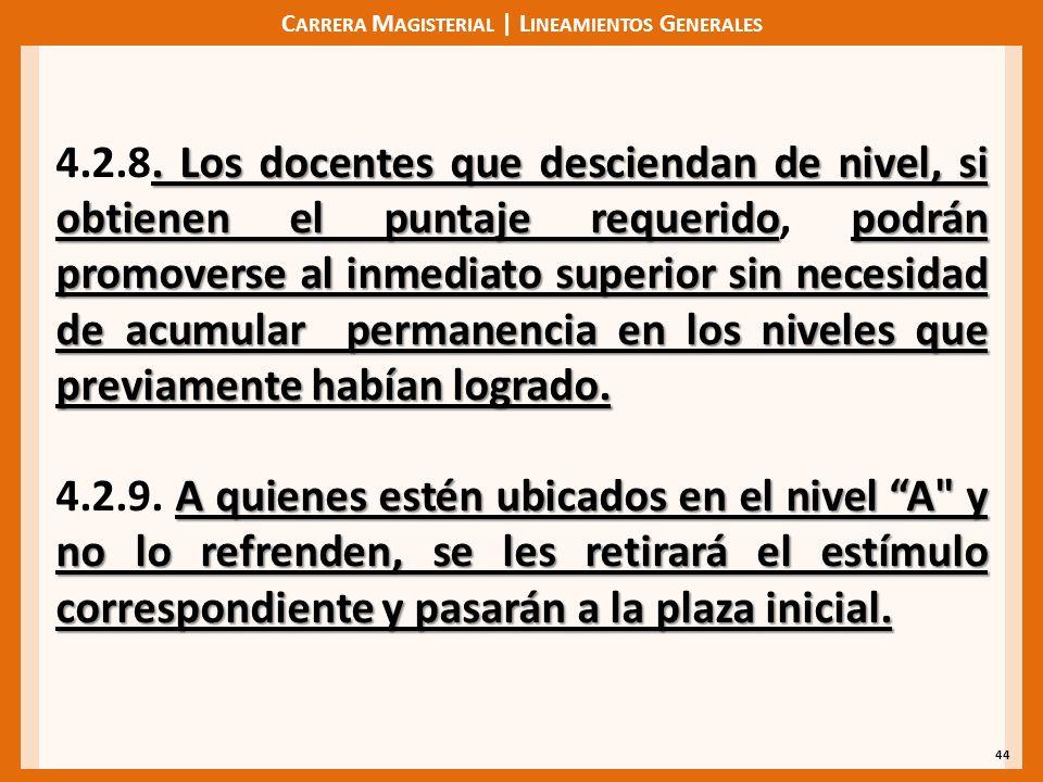 C ARRERA M AGISTERIAL | L INEAMIENTOS G ENERALES 44. Los docentes que desciendan de nivel, si obtienen el puntaje requeridopodrán promoverse al inmedi