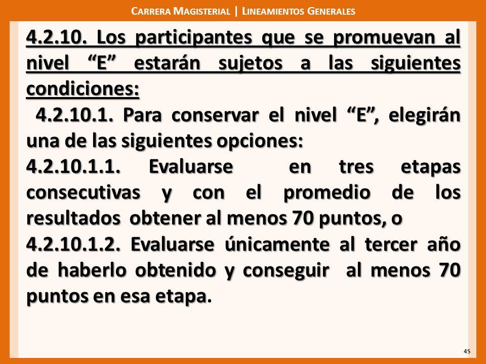 C ARRERA M AGISTERIAL | L INEAMIENTOS G ENERALES 45 4.2.10. Los participantes que se promuevan al nivel E estarán sujetos a las siguientes condiciones