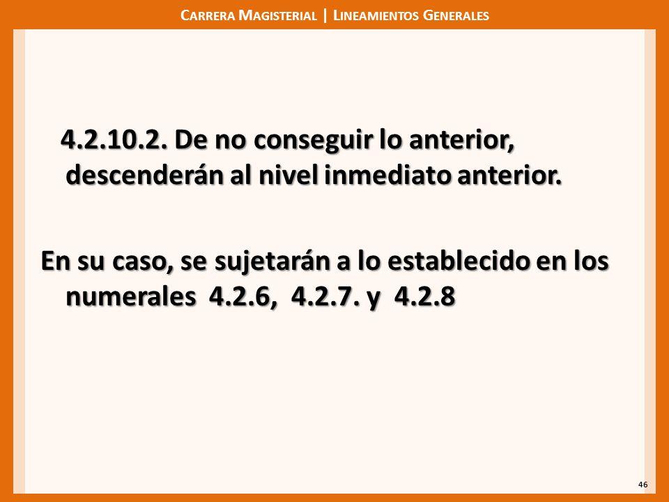 C ARRERA M AGISTERIAL | L INEAMIENTOS G ENERALES 4.2.10.2. De no conseguir lo anterior, descenderán al nivel inmediato anterior. 4.2.10.2. De no conse