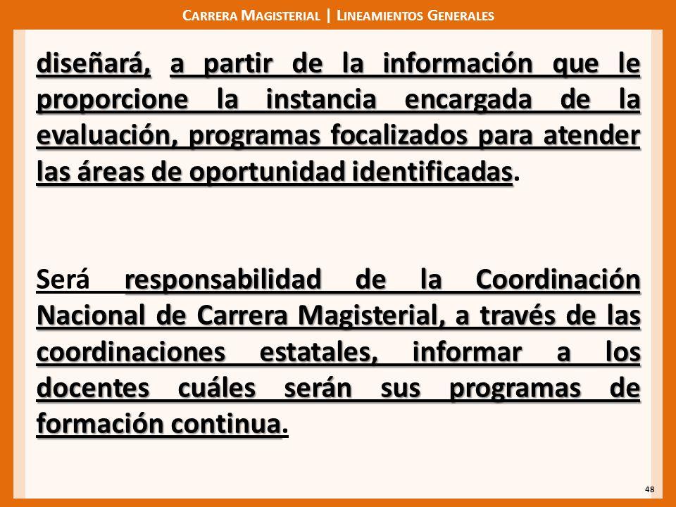 C ARRERA M AGISTERIAL | L INEAMIENTOS G ENERALES 48 diseñará,a partir de la información que le proporcione la instancia encargada de la evaluación, programas focalizados para atender las áreas de oportunidad identificadas diseñará, a partir de la información que le proporcione la instancia encargada de la evaluación, programas focalizados para atender las áreas de oportunidad identificadas.