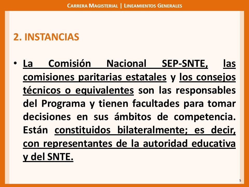 C ARRERA M AGISTERIAL | L INEAMIENTOS G ENERALES 5 2. INSTANCIAS La Comisión Nacional SEP-SNTE, las comisiones paritarias estatales y los consejos téc