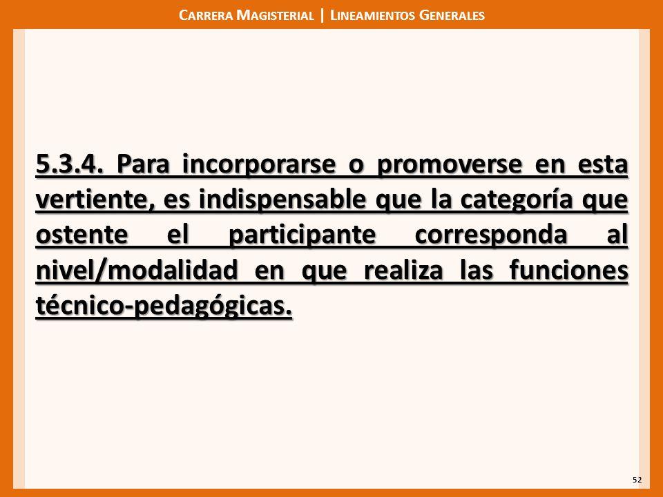 C ARRERA M AGISTERIAL | L INEAMIENTOS G ENERALES 52 5.3.4. Para incorporarse o promoverse en esta vertiente, es indispensable que la categoría que ost