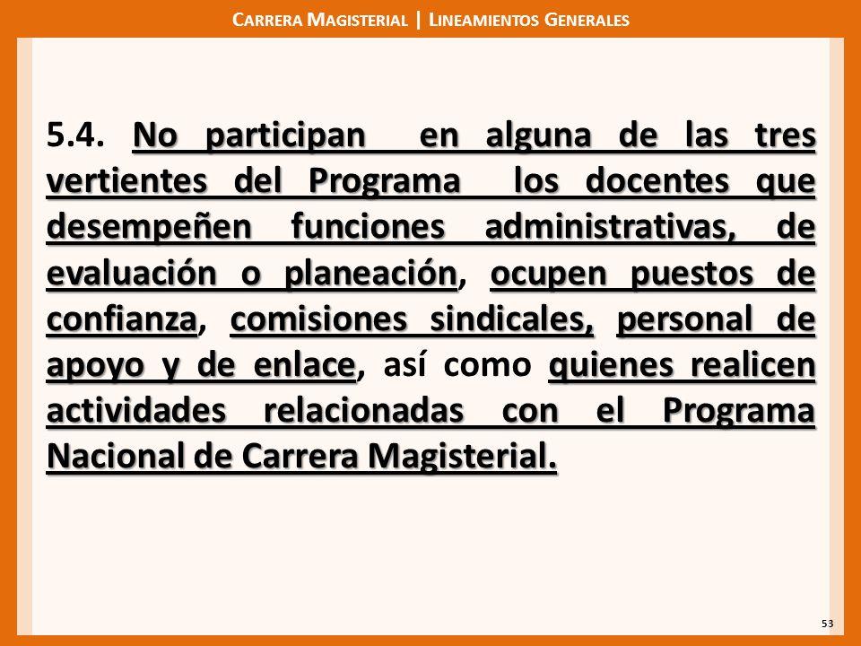 C ARRERA M AGISTERIAL | L INEAMIENTOS G ENERALES 53 No participan en alguna de las tres vertientes del Programa los docentes que desempeñen funciones