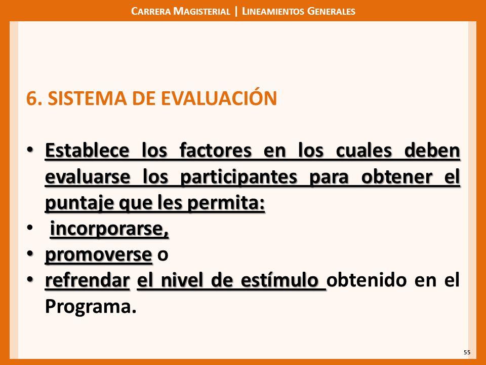 C ARRERA M AGISTERIAL | L INEAMIENTOS G ENERALES 55 6. SISTEMA DE EVALUACIÓN Establece los factores en los cuales deben evaluarse los participantes pa