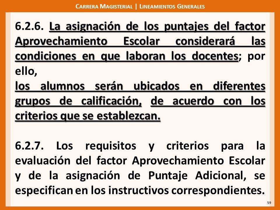 C ARRERA M AGISTERIAL | L INEAMIENTOS G ENERALES 59 La asignación de los puntajes del factor Aprovechamiento Escolar considerará las condiciones en que laboran los docentes 6.2.6.
