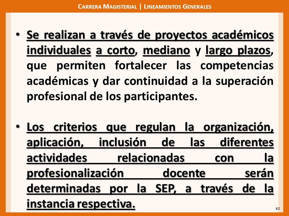 C ARRERA M AGISTERIAL | L INEAMIENTOS G ENERALES 62 Se realizan a través de proyectos académicos individualesa cortomedianolargo plazos Se realizan a