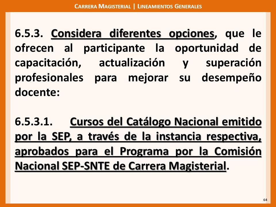 C ARRERA M AGISTERIAL | L INEAMIENTOS G ENERALES 64 Considera diferentes opciones 6.5.3. Considera diferentes opciones, que le ofrecen al participante