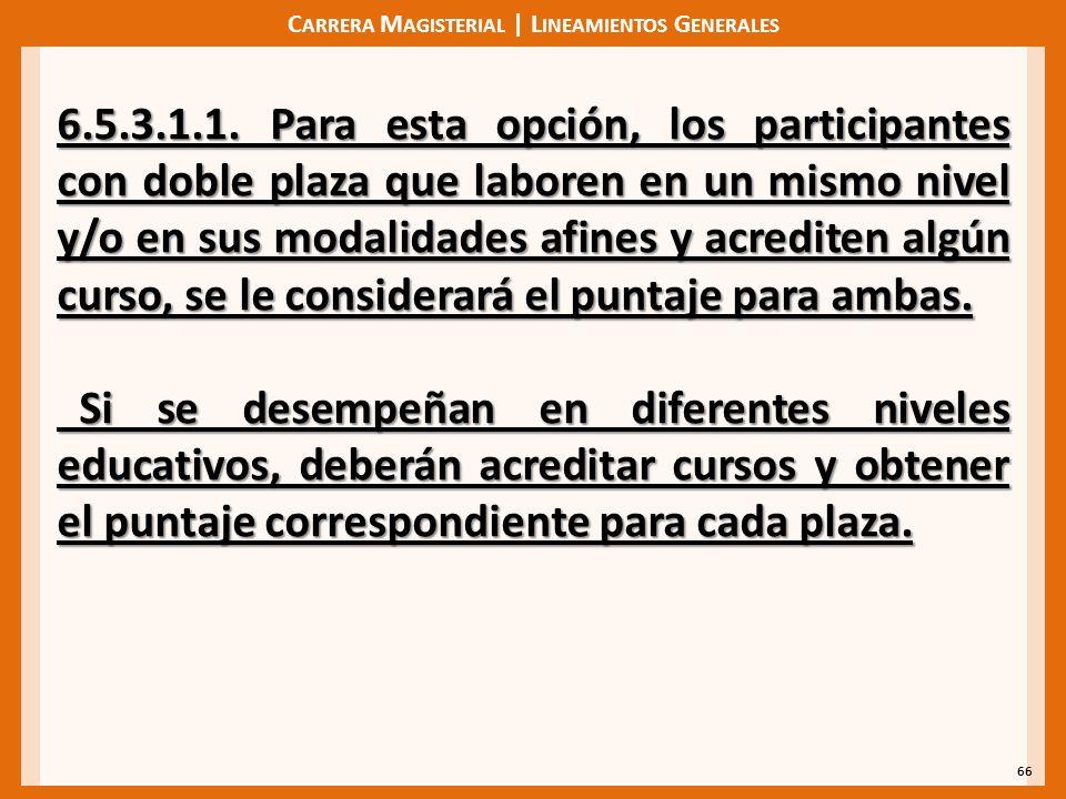 C ARRERA M AGISTERIAL | L INEAMIENTOS G ENERALES 66 6.5.3.1.1. Para esta opción, los participantes con doble plaza que laboren en un mismo nivel y/o e