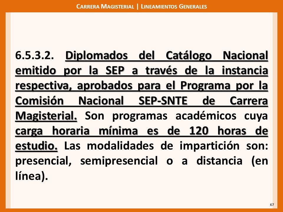 C ARRERA M AGISTERIAL | L INEAMIENTOS G ENERALES 67 Diplomados del Catálogo Nacional emitido por la SEP a través de la instancia respectiva, aprobados para el Programa por la Comisión Nacional SEP-SNTE de Carrera Magisterial.
