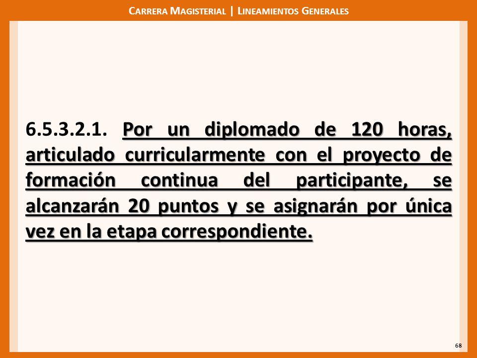 C ARRERA M AGISTERIAL | L INEAMIENTOS G ENERALES 68 Por un diplomado de 120 horas, articulado curricularmente con el proyecto de formación continua de
