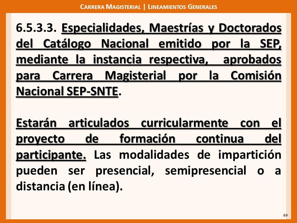 C ARRERA M AGISTERIAL | L INEAMIENTOS G ENERALES 69 Especialidades, Maestrías y Doctorados del Catálogo Nacional emitido por la SEP, mediante la instancia respectiva, aprobados para Carrera Magisterial por la Comisión Nacional SEP-SNTE 6.5.3.3.