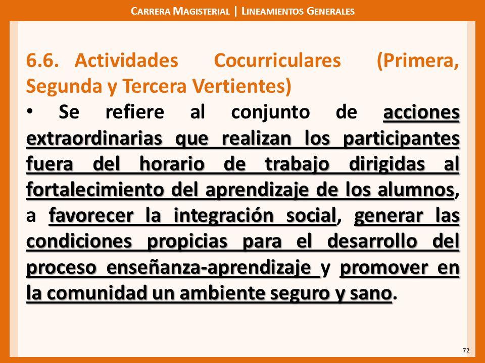 C ARRERA M AGISTERIAL | L INEAMIENTOS G ENERALES 72 6.6.Actividades Cocurriculares (Primera, Segunda y Tercera Vertientes) acciones extraordinarias qu