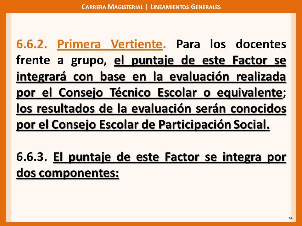 C ARRERA M AGISTERIAL | L INEAMIENTOS G ENERALES 74 el puntaje de este Factor se integrará con base en la evaluación realizada por el Consejo Técnico Escolar o equivalente los resultados de la evaluación serán conocidos por el Consejo Escolar de Participación Social.