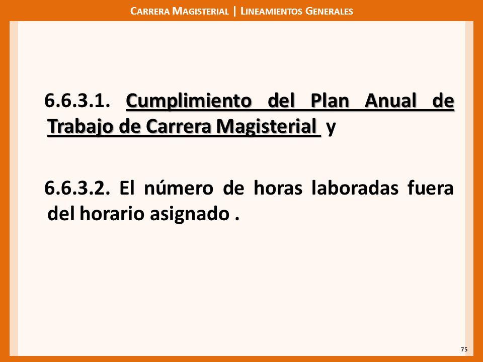 C ARRERA M AGISTERIAL | L INEAMIENTOS G ENERALES Cumplimiento del Plan Anual de Trabajo de Carrera Magisterial 6.6.3.1.