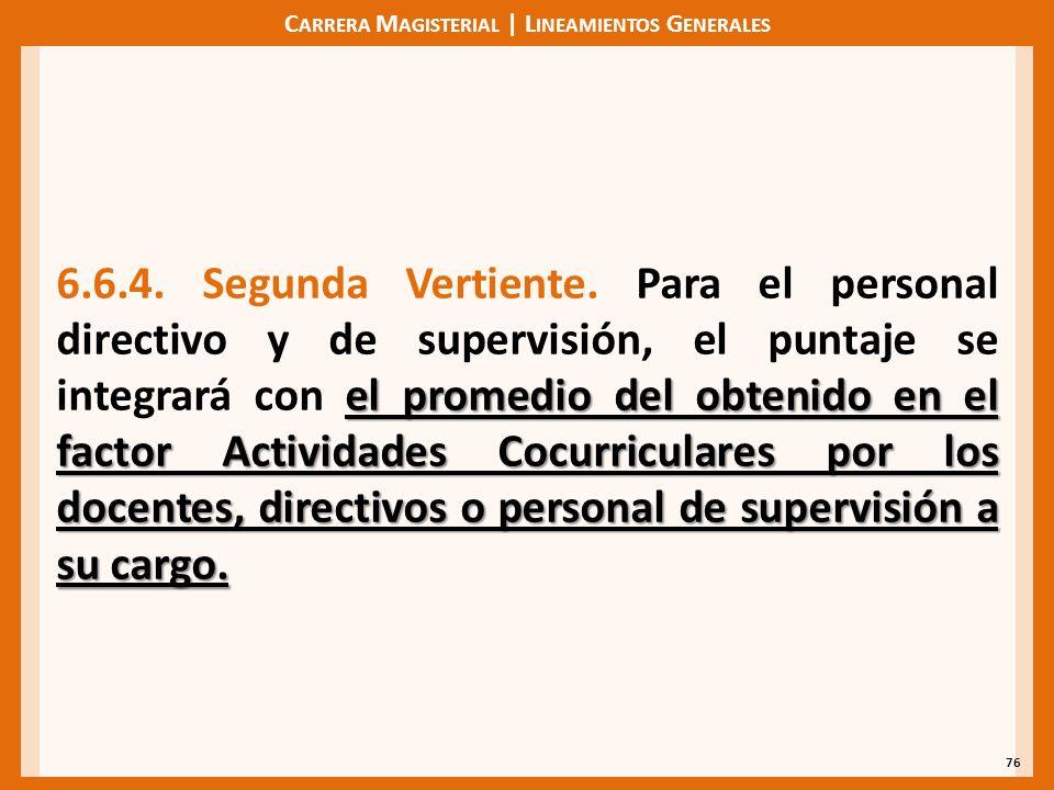 C ARRERA M AGISTERIAL | L INEAMIENTOS G ENERALES 76 el promedio del obtenido en el factor Actividades Cocurriculares por los docentes, directivos o personal de supervisión a su cargo.