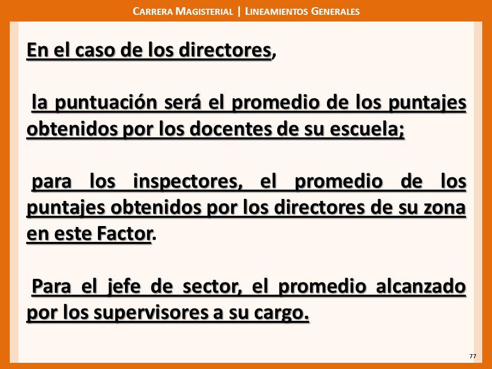 C ARRERA M AGISTERIAL | L INEAMIENTOS G ENERALES 77 En el caso de los directores En el caso de los directores, la puntuación será el promedio de los p