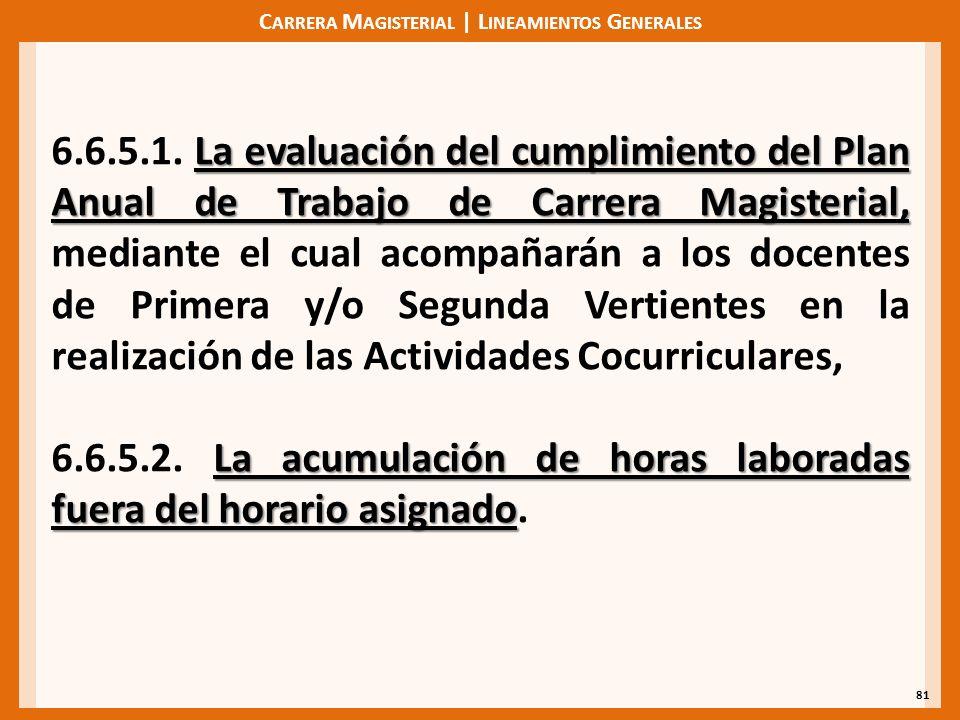 C ARRERA M AGISTERIAL | L INEAMIENTOS G ENERALES 81 La evaluación del cumplimiento del Plan Anual de Trabajo de Carrera Magisterial, 6.6.5.1.