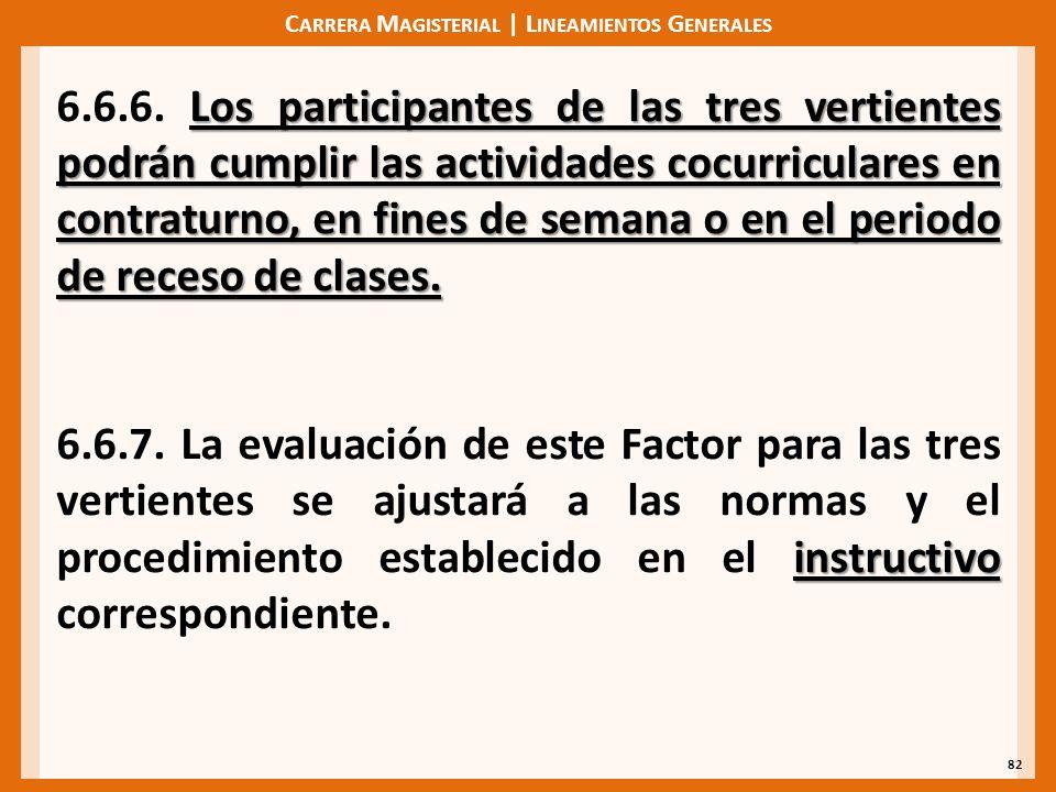 C ARRERA M AGISTERIAL | L INEAMIENTOS G ENERALES 82 Los participantes de las tres vertientes podrán cumplir las actividades cocurriculares en contraturno, en fines de semana o en el periodo de receso de clases.