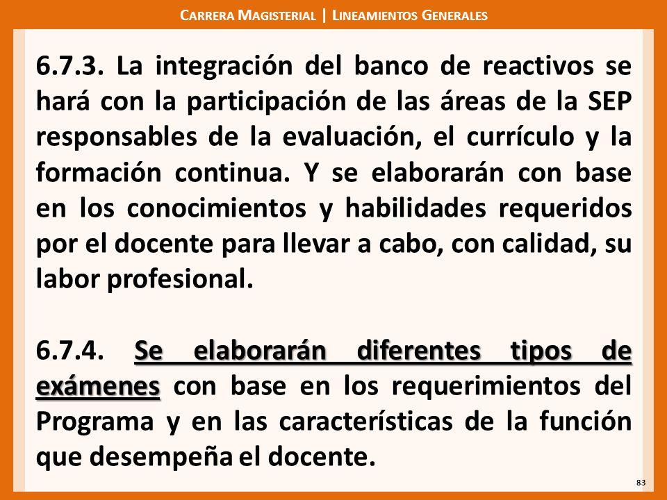 C ARRERA M AGISTERIAL | L INEAMIENTOS G ENERALES 83 6.7.3. La integración del banco de reactivos se hará con la participación de las áreas de la SEP r