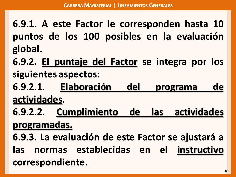 C ARRERA M AGISTERIAL | L INEAMIENTOS G ENERALES 88 6.9.1. A este Factor le corresponden hasta 10 puntos de los 100 posibles en la evaluación global.