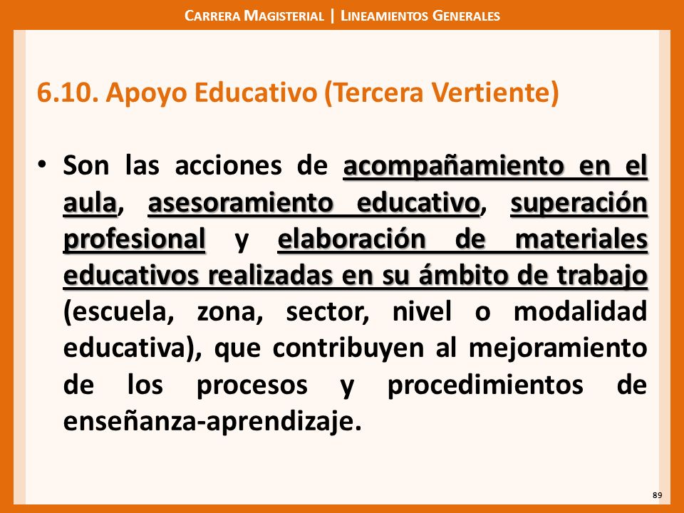 C ARRERA M AGISTERIAL | L INEAMIENTOS G ENERALES 89 6.10. Apoyo Educativo (Tercera Vertiente) acompañamiento en el aulaasesoramiento educativosuperaci