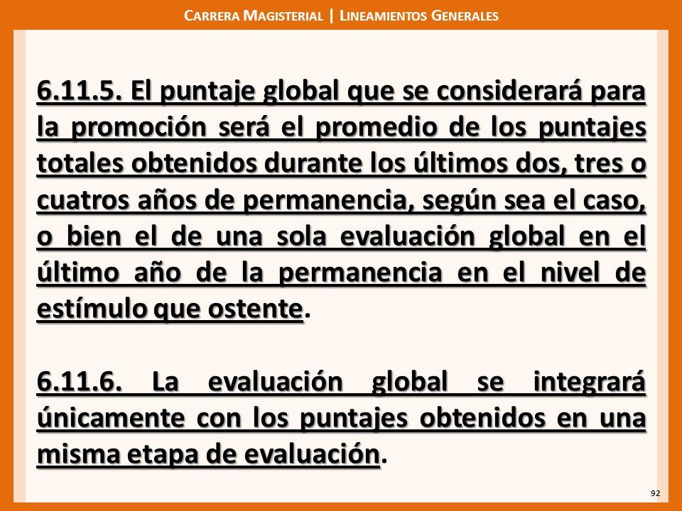 C ARRERA M AGISTERIAL | L INEAMIENTOS G ENERALES 92 6.11.5. El puntaje global que se considerará para la promoción será el promedio de los puntajes to