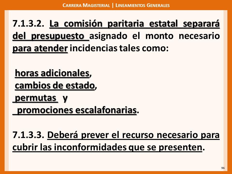 C ARRERA M AGISTERIAL | L INEAMIENTOS G ENERALES 96 La comisión paritaria estatal separará del presupuesto para atender 7.1.3.2.