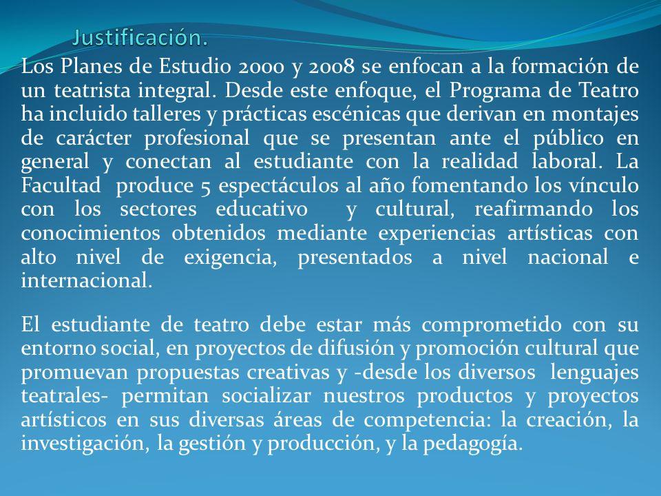 Los Planes de Estudio 2000 y 2008 se enfocan a la formación de un teatrista integral. Desde este enfoque, el Programa de Teatro ha incluido talleres y