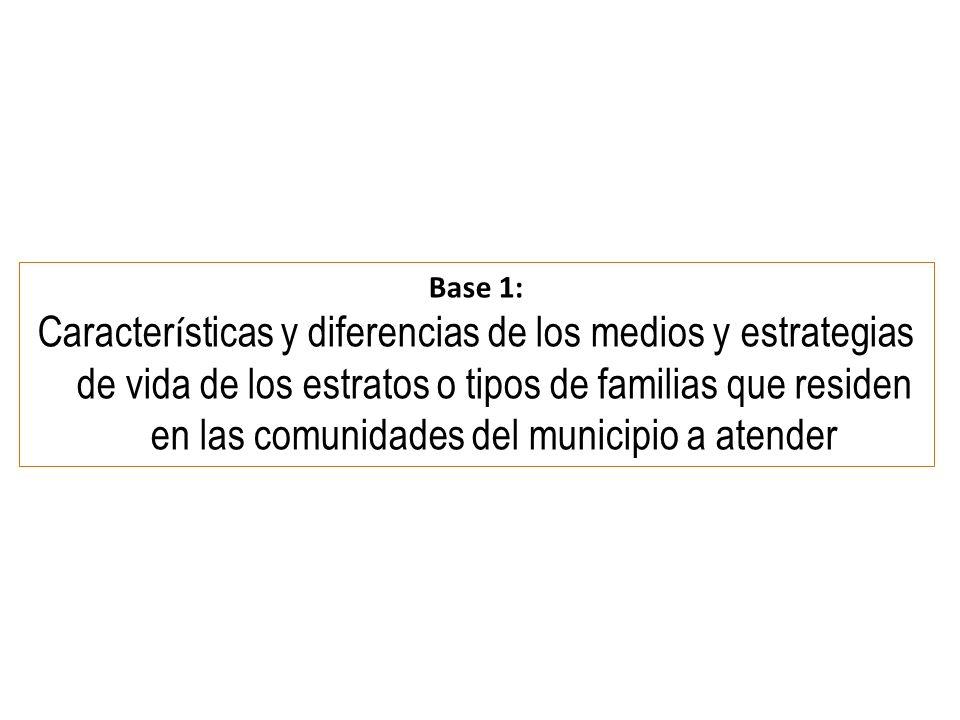 Base 1: Caracter í sticas y diferencias de los medios y estrategias de vida de los estratos o tipos de familias que residen en las comunidades del municipio a atender