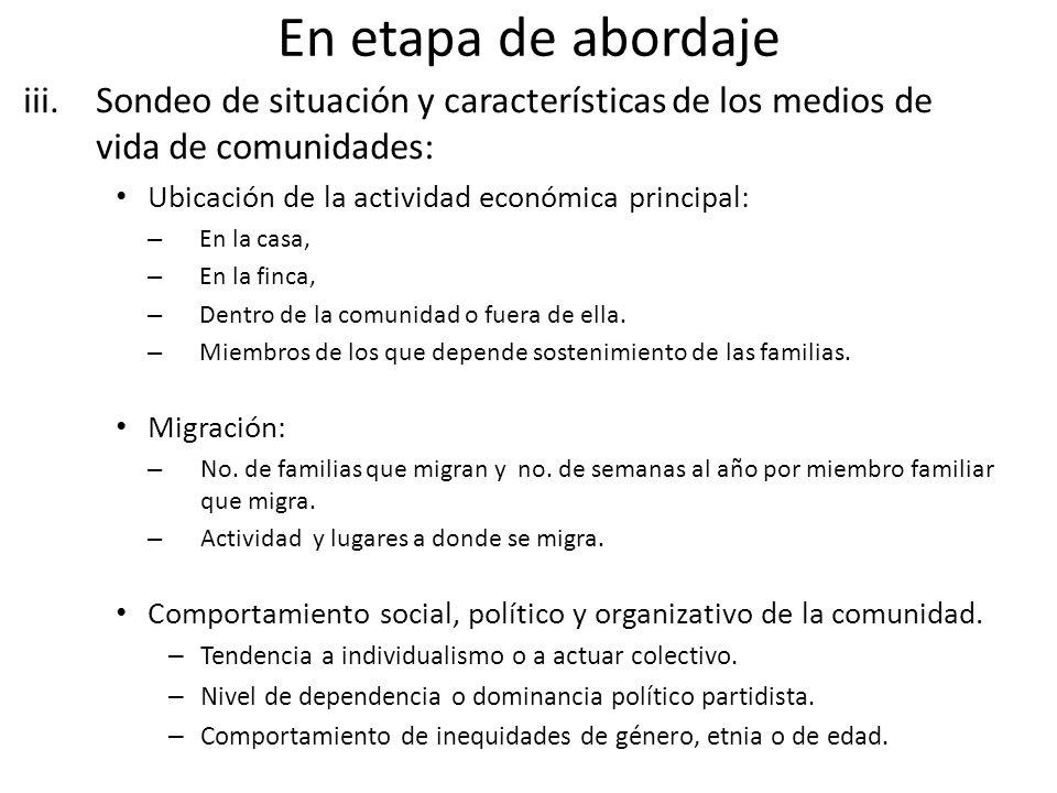 En etapa de abordaje iii.Sondeo de situación y características de los medios de vida de comunidades: Ubicación de la actividad económica principal: – En la casa, – En la finca, – Dentro de la comunidad o fuera de ella.