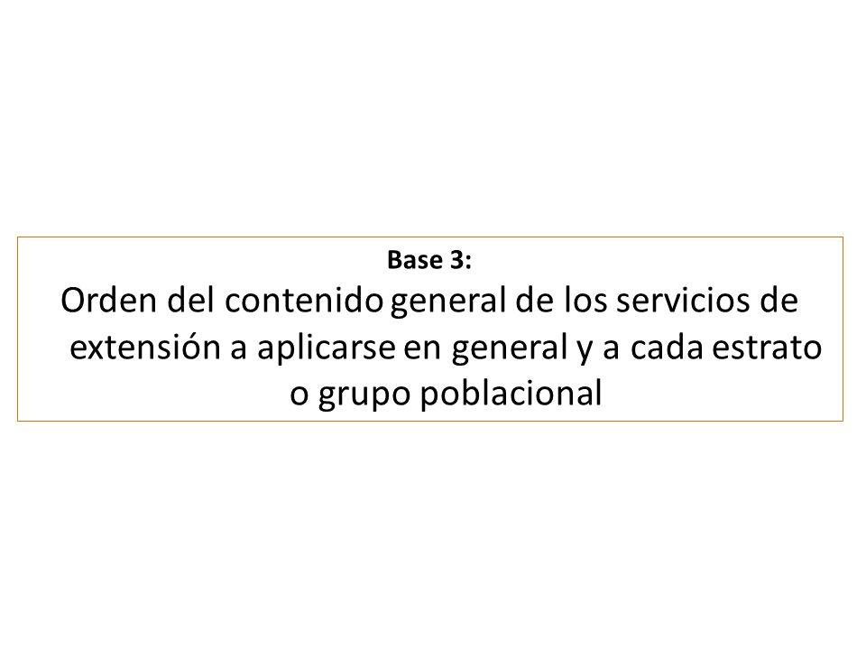 Base 3: Orden del contenido general de los servicios de extensión a aplicarse en general y a cada estrato o grupo poblacional