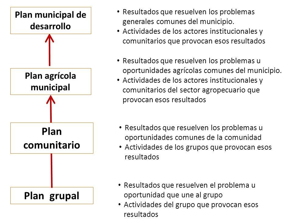 Plan grupal Resultados que resuelven el problema u oportunidad que une al grupo Actividades del grupo que provocan esos resultados Plan agrícola municipal Resultados que resuelven los problemas u oportunidades agrícolas comunes del municipio.