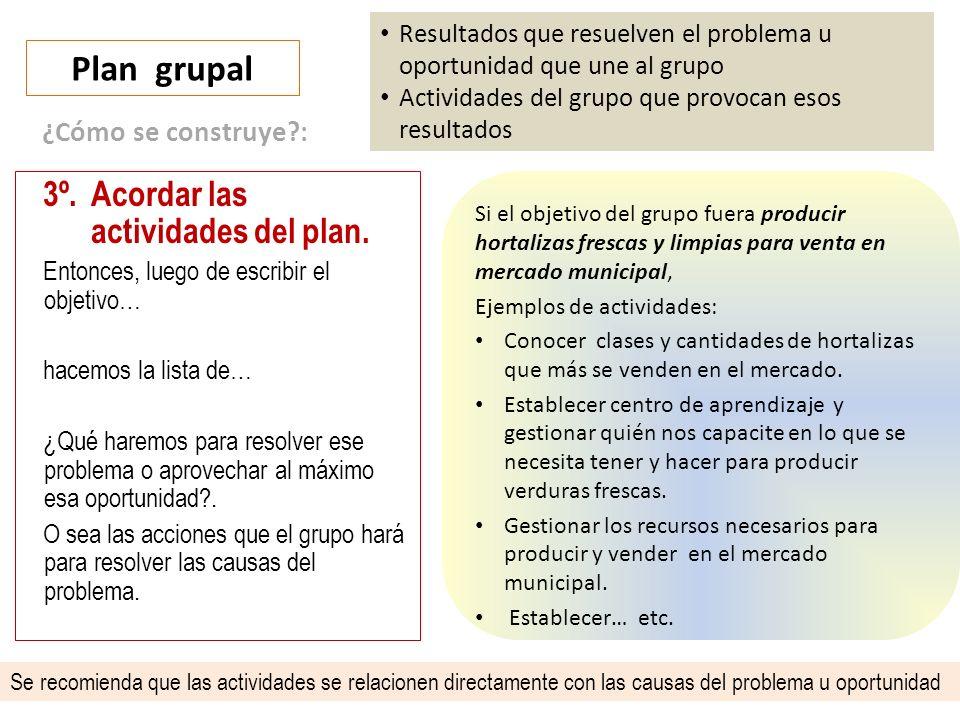 Plan grupal Resultados que resuelven el problema u oportunidad que une al grupo Actividades del grupo que provocan esos resultados 3º.Acordar las actividades del plan.
