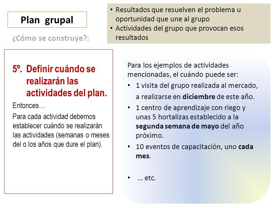 Plan grupal Resultados que resuelven el problema u oportunidad que une al grupo Actividades del grupo que provocan esos resultados 5º.Definir cuándo se realizarán las actividades del plan.