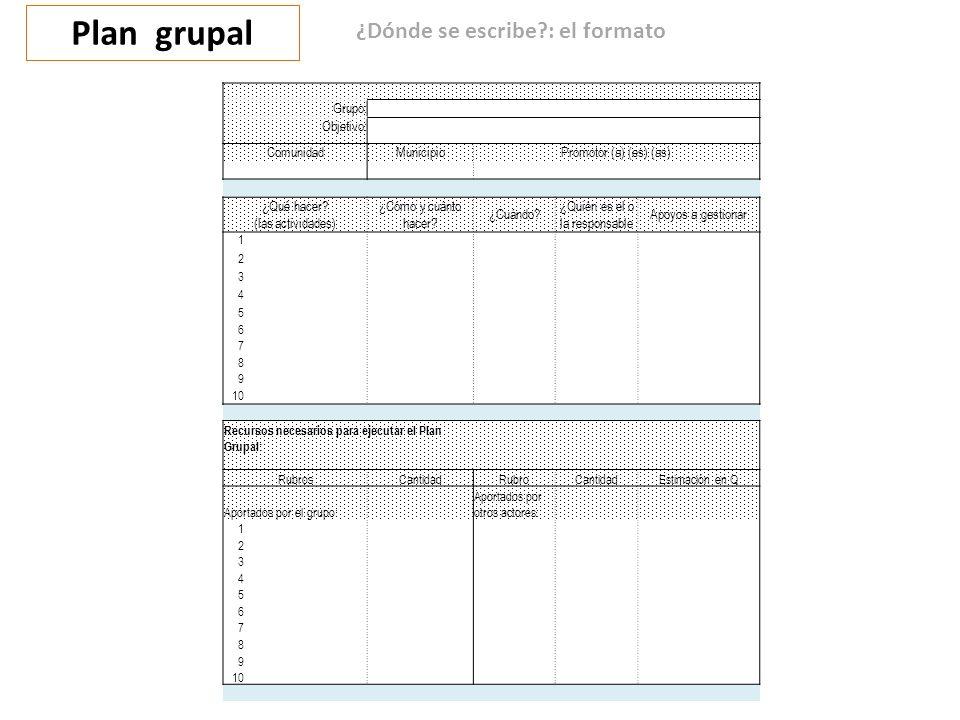 Plan grupal ¿Dónde se escribe?: el formato Grupo: Objetivo: ComunidadMunicipioPromotor (a) (es) (as) ¿Qué hacer.
